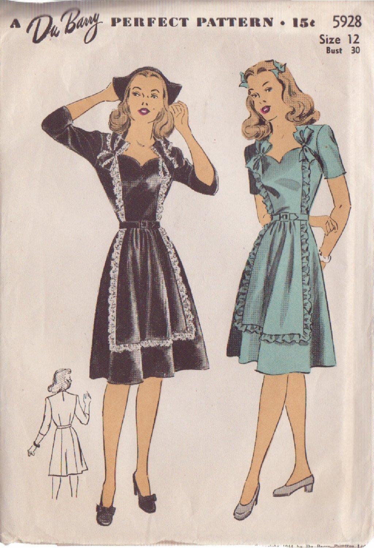 Du Barry VINTAGE PATTERN 5928  SZ 12 MISSES� 1944  DRESS IN 2 STYLES