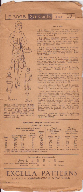 EXCELLA VINTAGE PATTERN 3674  SZ 40 MISSES'  1930's SMOCK