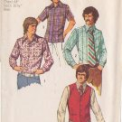 SIMPLICITY PATTERN 5047 SIZE 44 MEN'S VEST, SET OF SHIRTS IN 3 VARIATIONS UNCUT