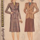 SIMPLICITY PATTERN 3652 SIZE 12 MISSES' JACKET AND SKIRT DATED 1940
