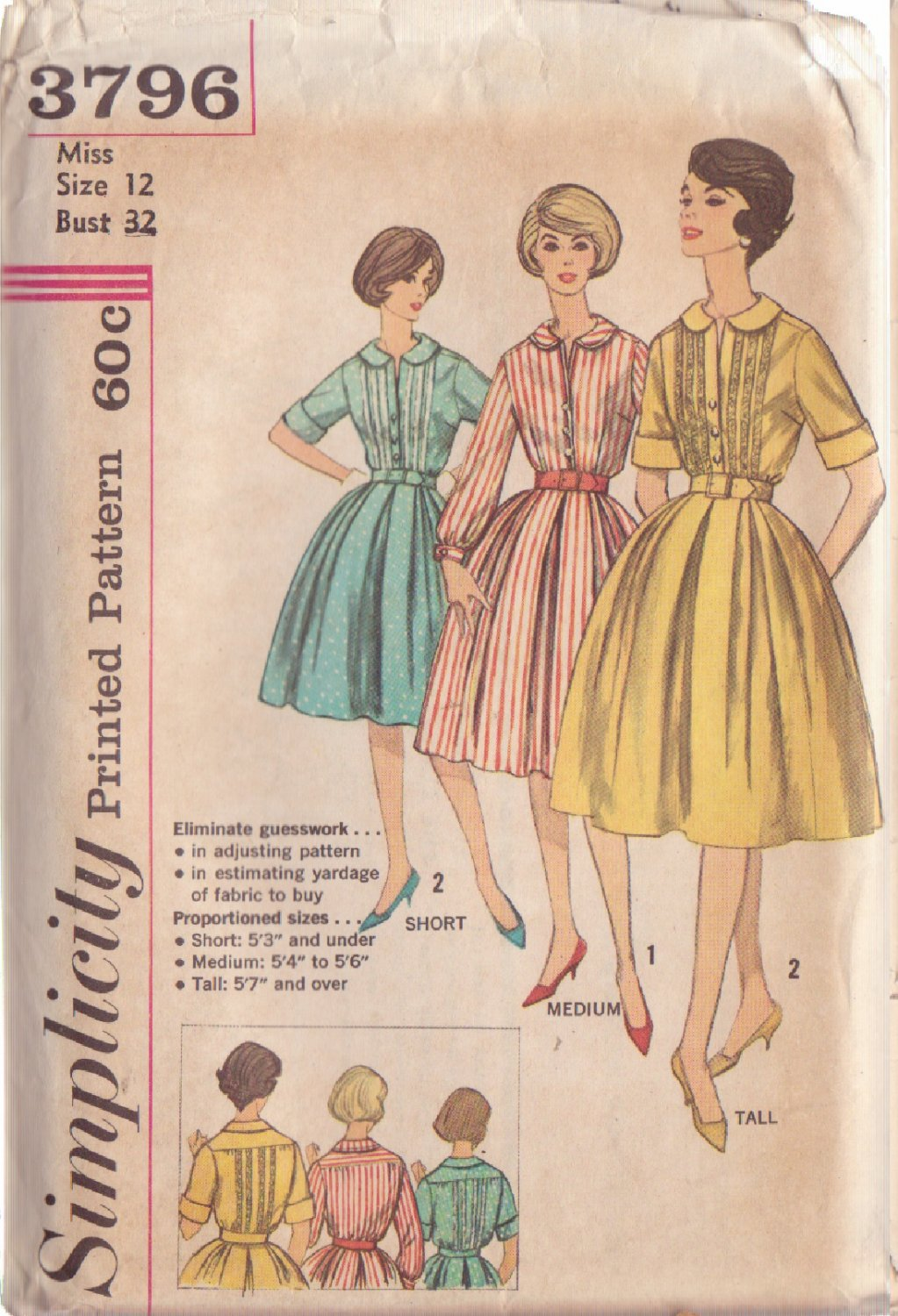 SIMPLICITY PATTERN 3796 SIZE 12 MISSES' PROPORTIONED DRESS 2 variations