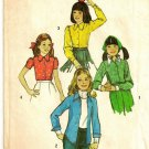 SIMPLICITY PATTERN 6477 SIZE 14 CHILD'S BLOUSE IN 4 VARIATIONS