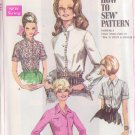 SIMPLICITY VINTAGE PATTERN 7780 SIZE 12 MISSES' BLOUSE, 2 COLLARS, 4 STYLES
