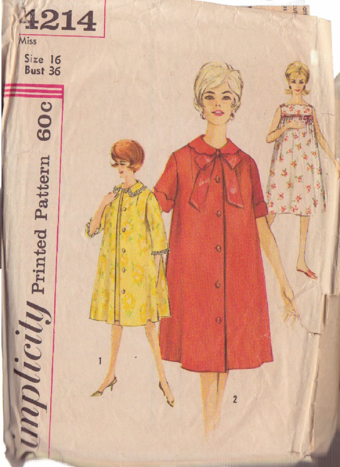 SIMPLICITY PATTERN 4214 SIZE 16 MISSES NIGHTGOWN AND ROBES