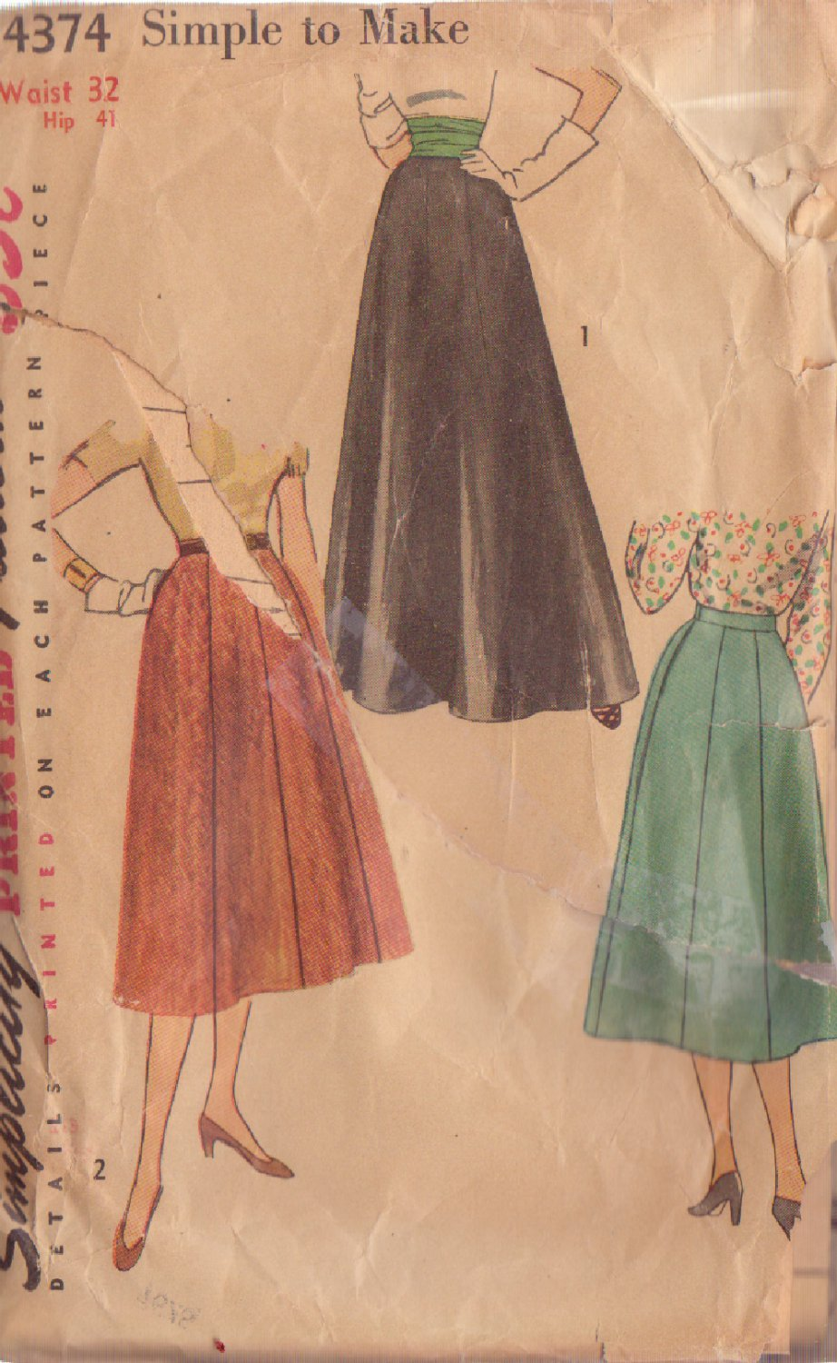 SIMPLICITY VINTAGE PATTERN 4374 SIZE 32 MISSES SKIRTS 2 LENGTHS