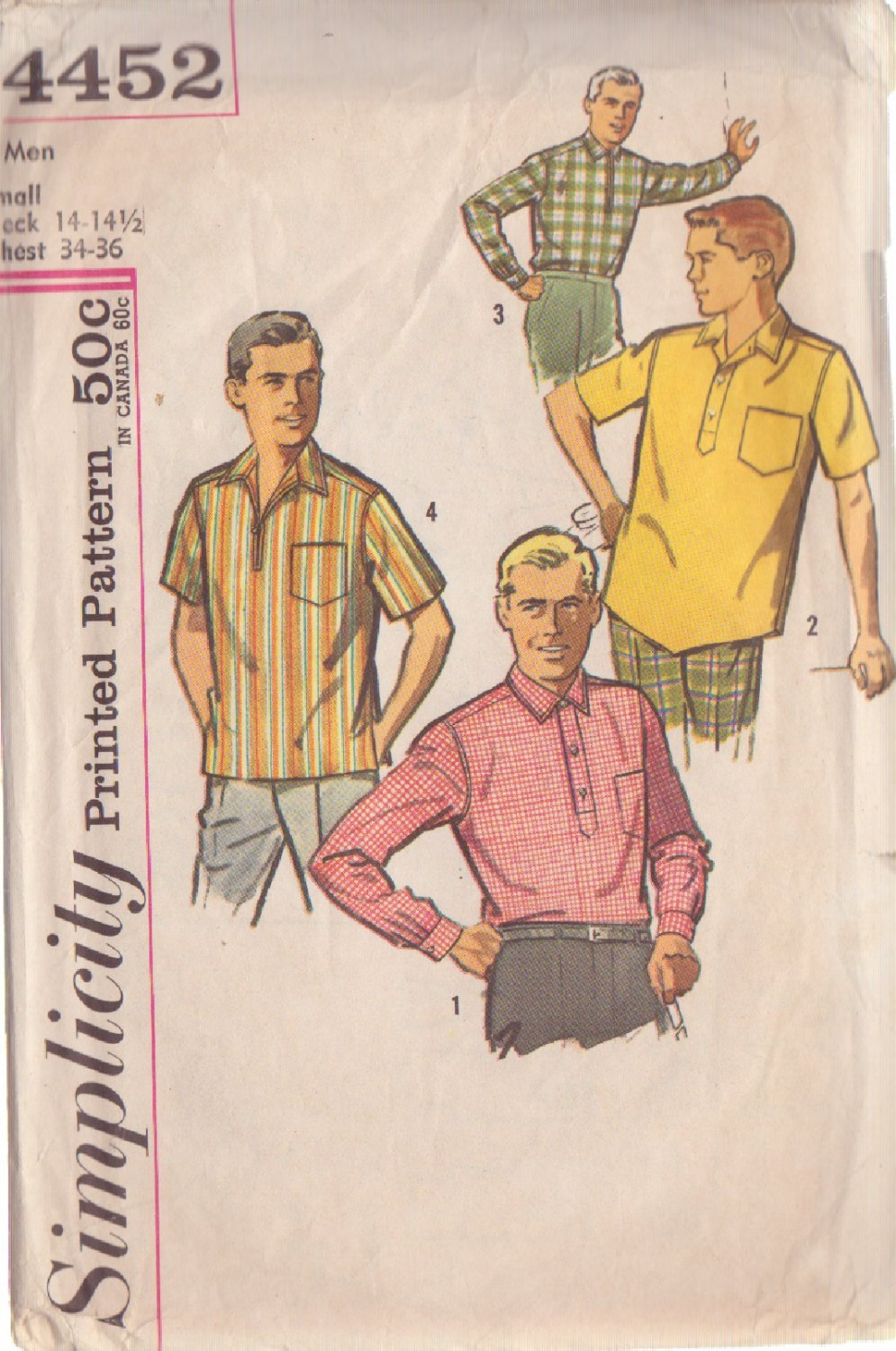 SIMPLICITY VINTAGE PATTERN 4452 SIZE SMALL 34/36 MEN'S SHIRT 3 VERSIONS