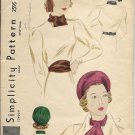 SIMPLICITY VINTAGE PATTERN 2595 SIZE 23 MISSES PILLBOX HAT, BELT & SCARF