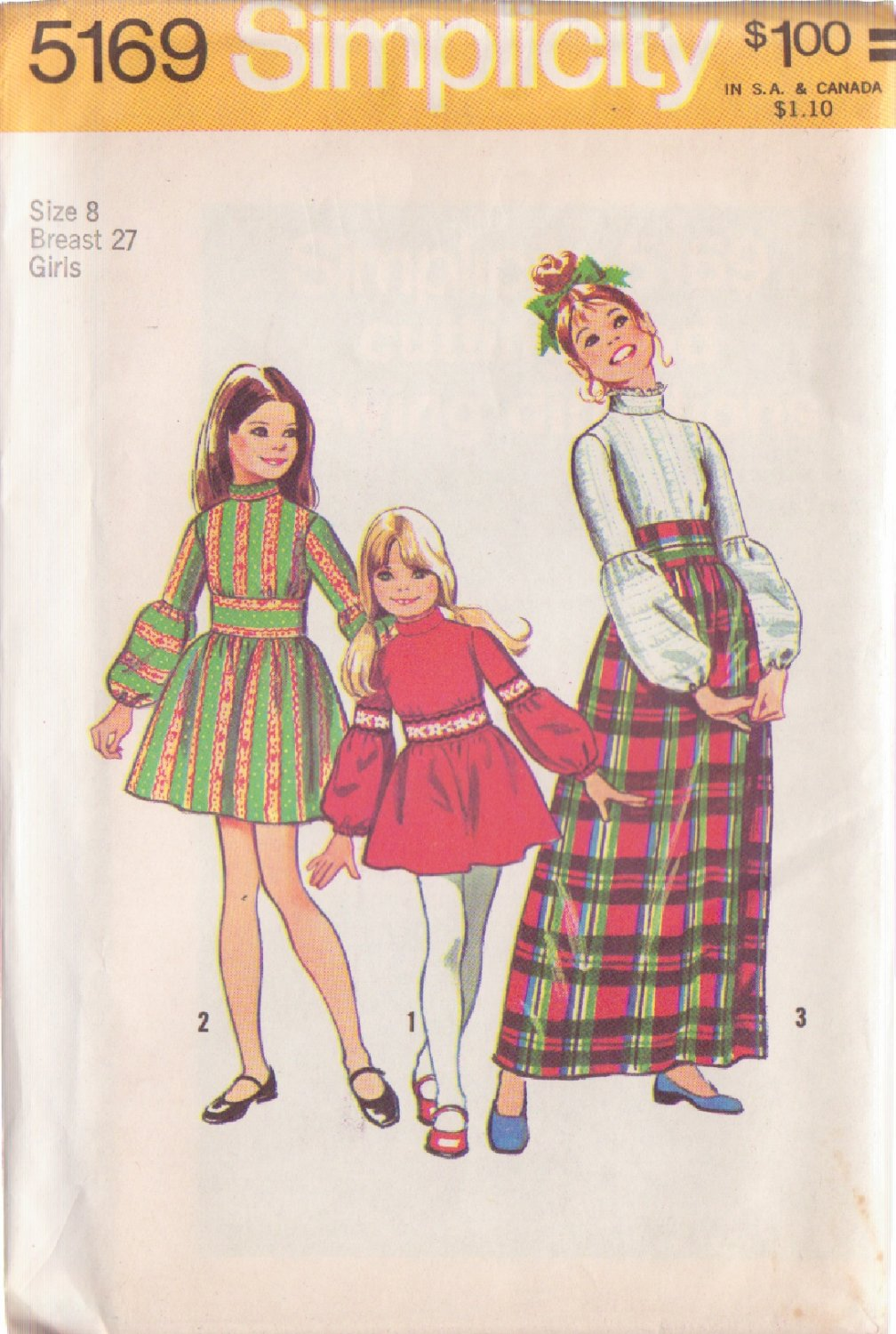 SIMPLICITY 1972 VINTAGE 5169 SIZE 8 GIRL'S DRESS IN 2 LENGTHS