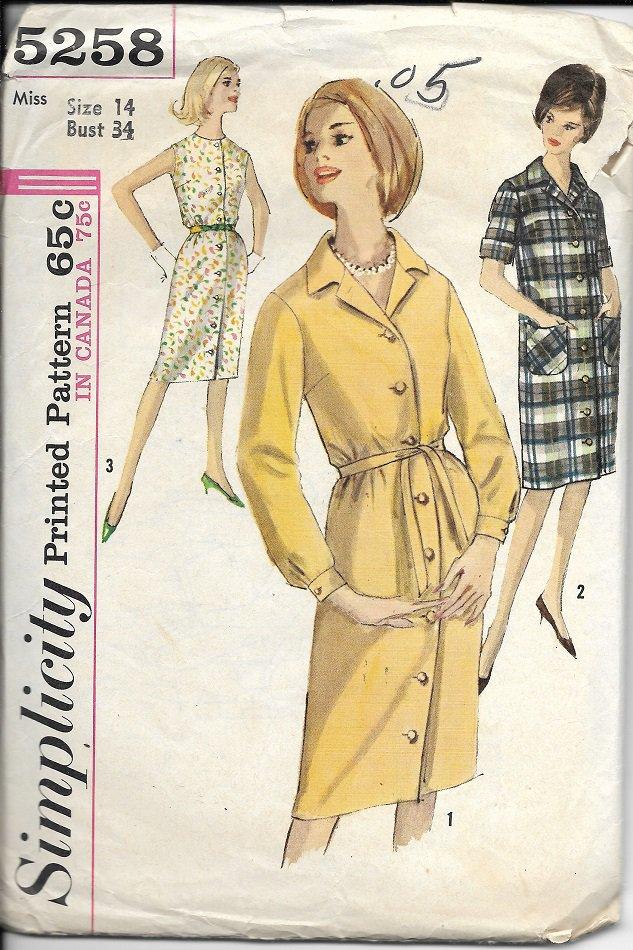 SIMPLICITY 1963 VINTAGE 5258 SIZE 14 MISSES ONE PIECE DRESS 3 STYLES