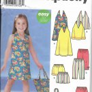 SIMPLICITY 2003 PATTERN 5531 SIZE 3/4/5/6/7/8 CHILD'S DRESS OR TOP PANTS SHORTS SKORT BAG