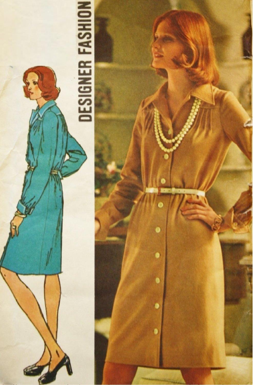 SIMPLICITY VINTAGE 1973 PATTERN 5731 SIZE 12 MISSES' BUTTON FRONT DRESS