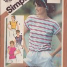 SIMPLICITY VINTAGE 1983 PATTERN 5933 SIZE 8 MISSES' PULLOVER TOP IN 4 VARIATIONS