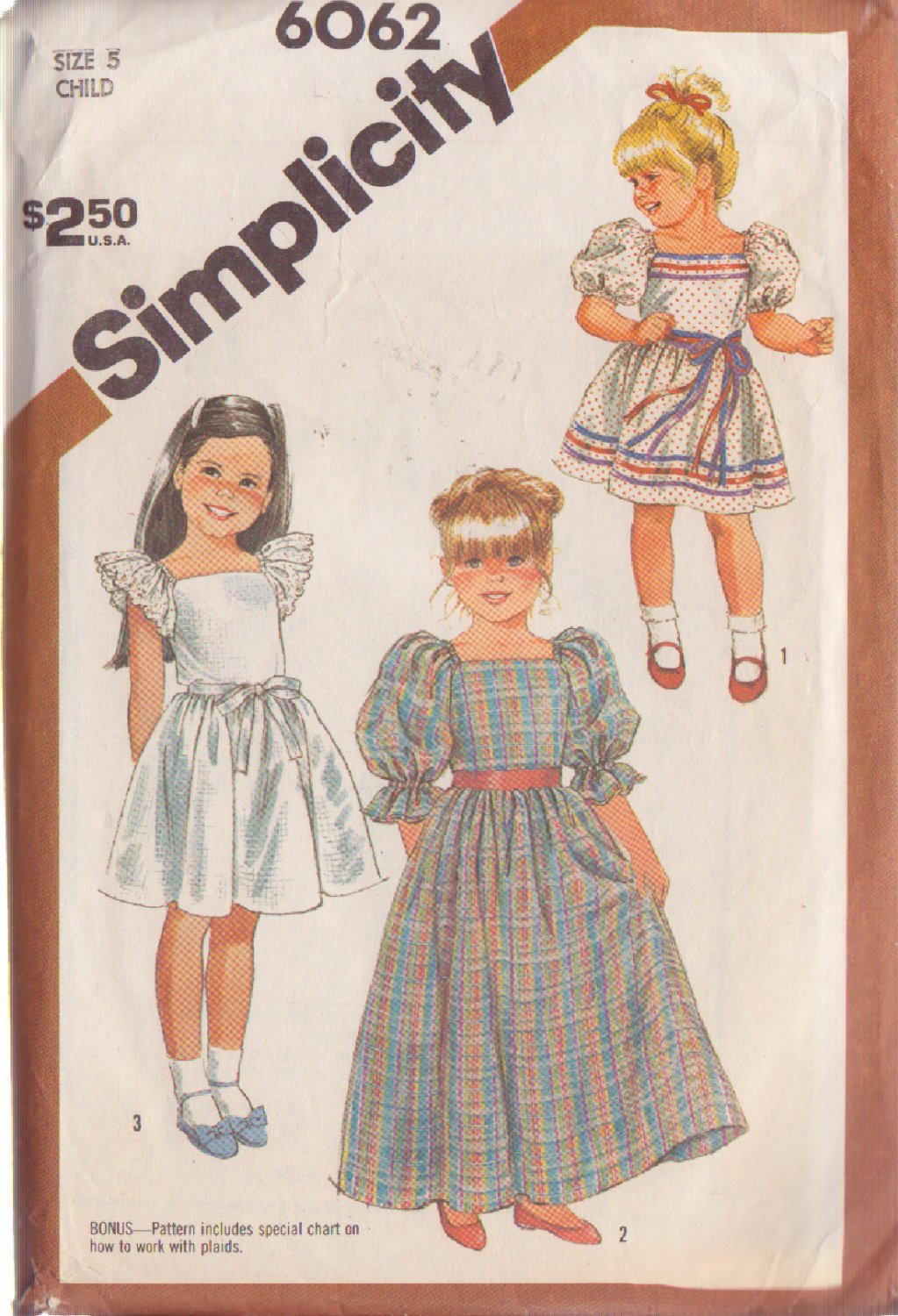 SIMPLICITY VINTAGE 1983 PATTERN 6062 SIZE 5 GIRL'S PULLOVER DRESS 2 LENGTHS