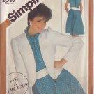 SIMPLICITY VINTAGE 1982 PATTERN 5835 SIZE 10 & 12 MISSES' PULLOVER DRESS & JCKT