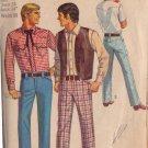 SIMPLICITY 1969 PATTERN 8300 SIZE 34 MEN'S WESTERN SHIRT, VEST, PANTS