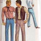 SIMPLICITY 1969 PATTERN 8300 SIZE 38 MEN'S WESTERN SHIRT, VEST, PANTS