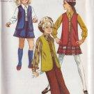 SIMPLICITY VINTAGE 1969 PATTERN 8428 SIZE 10.5 GIRL'S VEST BLOUSE SKIRT BELL BOTTOM PANTS