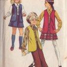 SIMPLICITY VINTAGE 1969 PATTERN 8428 SIZE 12.5 GIRL'S VEST BLOUSE SKIRT BELL BOTTOM PANTS