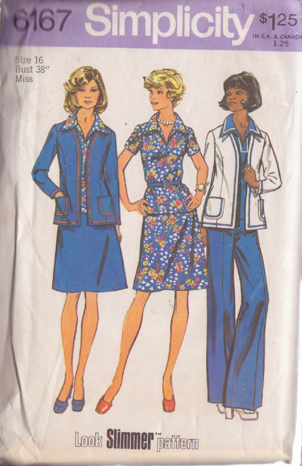 SIMPLICITY VINTAGE 1972 PATTERN 6167 SIZE 16 MISSES JACKET TOP SKIRT PANTS