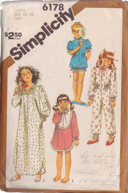 SIMPLICITY VINTAGE PATTERN 6178 SIZE 12-14 GIRL'S PAJAMAS NIGHTGOWN ROBE