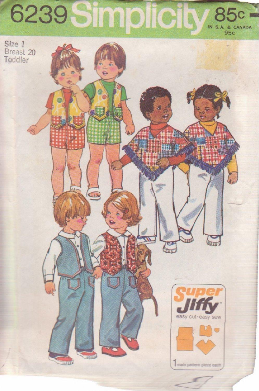 SIMPLICITY VINTAGE 1974 PATTERN 6239 SZ 1 TODDLERS PANTS REVERSIBLE VEST PONCHO