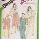 SIMPLICITY PATTERN 6497 SIZE 12 MISSES' PANTS, SKIRT, SHIRT AND LINED VEST
