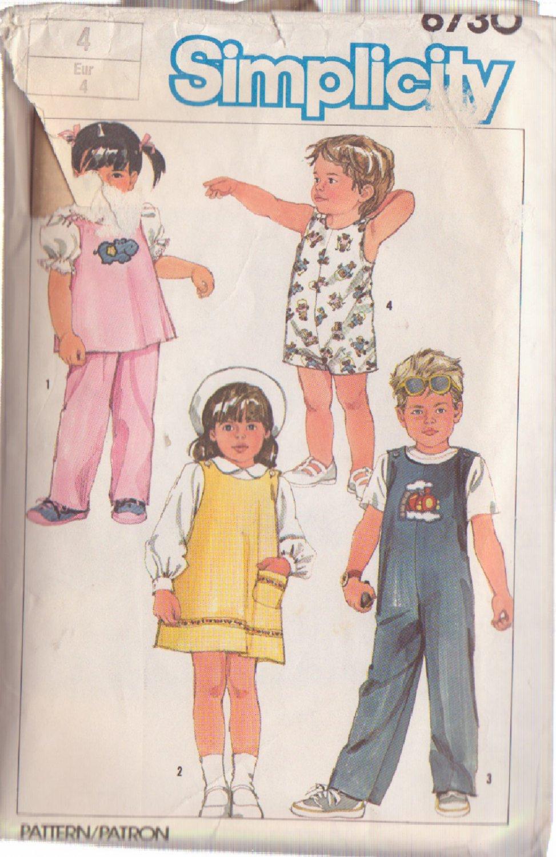 SIMPLICITY 1984 VINTAGE PATTERN 6730 SIZE 4 CHILD'S SUNDRESS, JUMPER, TOP, OVERALLS, PANTS
