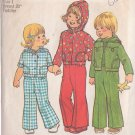 SIMPLICITY 1975 VINTAGE PATTERN 7102 SIZE 1 TODDLERS' UNLINED HOODED JACKET, PANTS