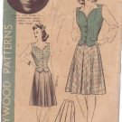 HOLLYWOOD PATTERN 654 MISSES' 1940'S WESKIT, SKIRT SIZE 16 PRISCILLA LANE