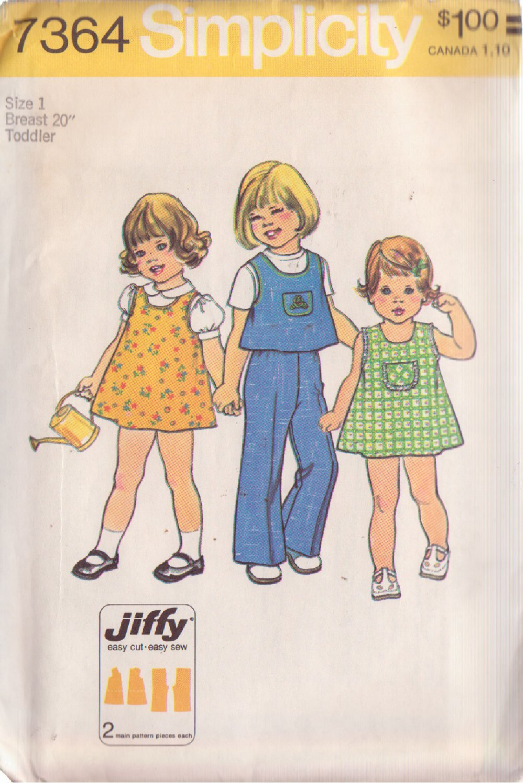 SIMPLICITY VINTAGE 1976 PATTERN 7364 SIZE 1 TODDLER DRESS TOP PANTS