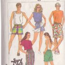 SIMPLICITY PATTERN 7501 SIZE SMALL UNISEX SURFERS SHORTS IN 3 LENGTHS