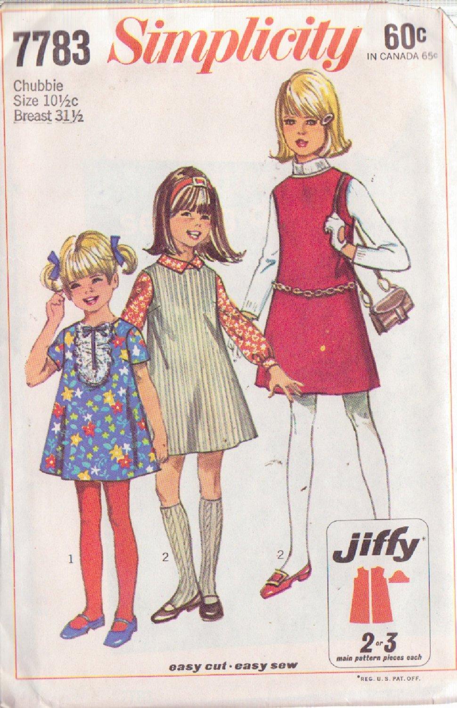 SIMPLICITY VINTAGE 1968 PATTERN 7783 SIZE 10 1/2 GIRLS' DRESS OR JUMPER