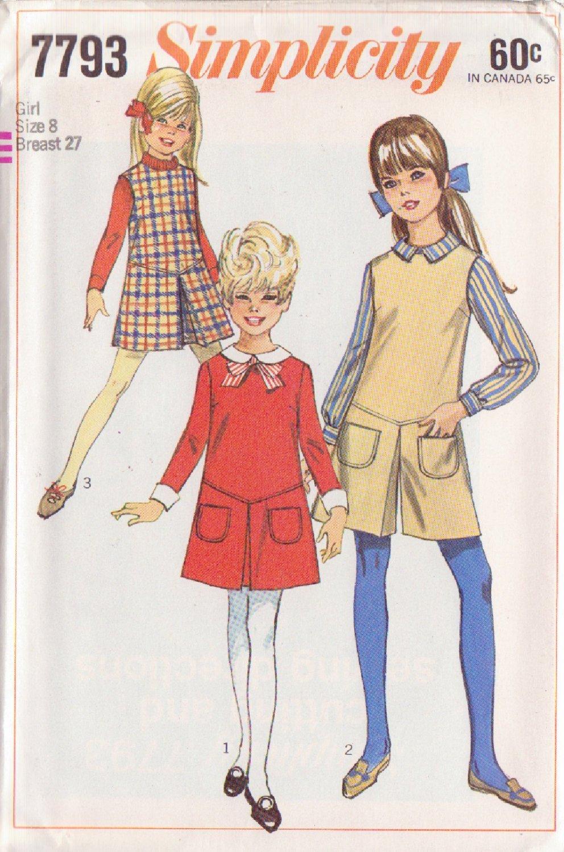 SIMPLICITY VINTAGE 1968 PATTERN 7793 SIZE 8 GIRLS' DRESS,JUMPER, PANTJUMPER