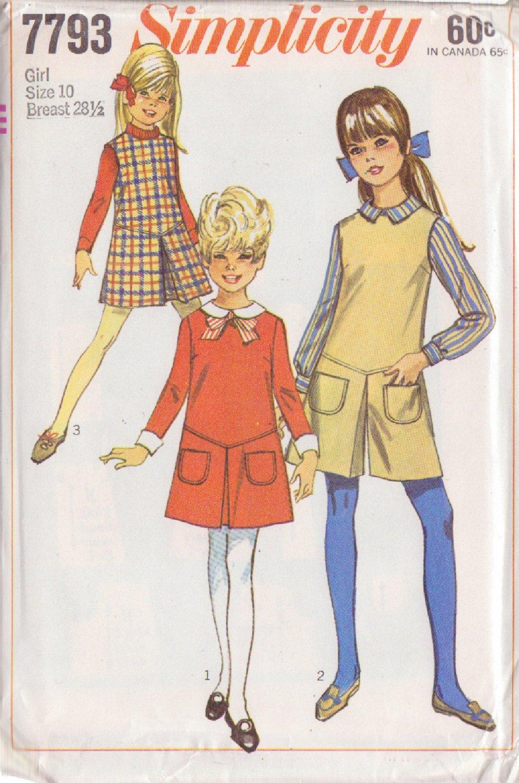 SIMPLICITY VINTAGE 1968 PATTERN 7793 SIZE 10 GIRLS' DRESS,JUMPER, PANTJUMPER