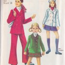 SIMPLICITY PATTERN 8480 SIZE 7 JACKET, BELL-BOTTOM PANTS, MINI PANTSKIRT UNCUT