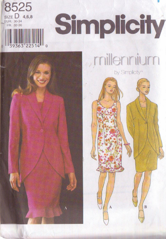 SIMPLICITY PATTERN 8525 SIZES 4/6/8  MISSES' DRESS & JACKET