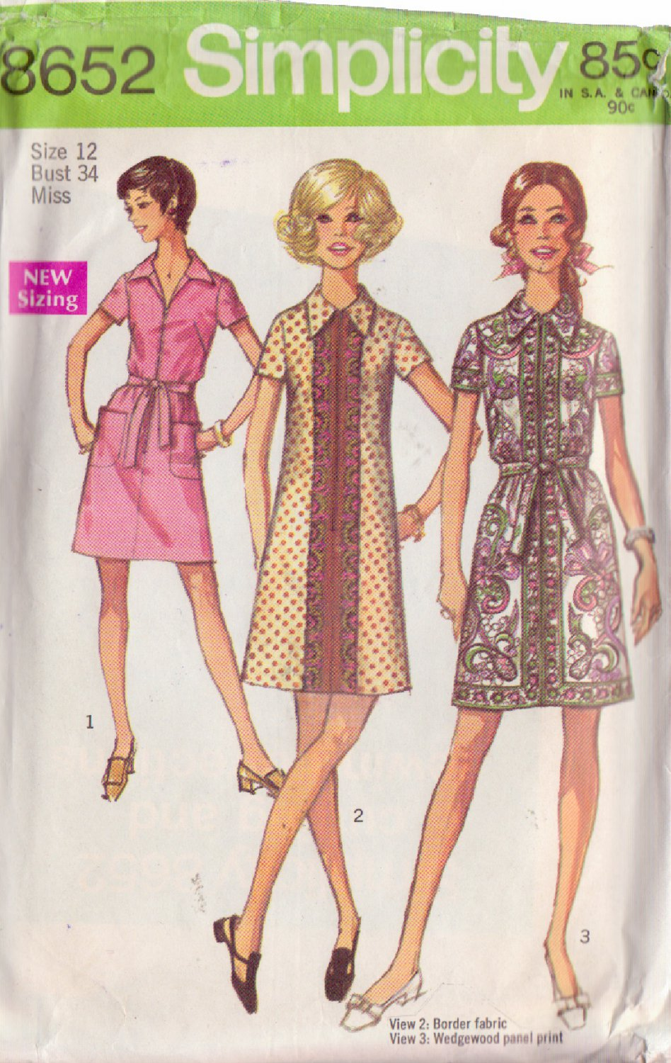 SIMPLICITY PATTERN 8652 SIZE 12  MISSES' SHIRT DRESS IN 3 VARIATIONS