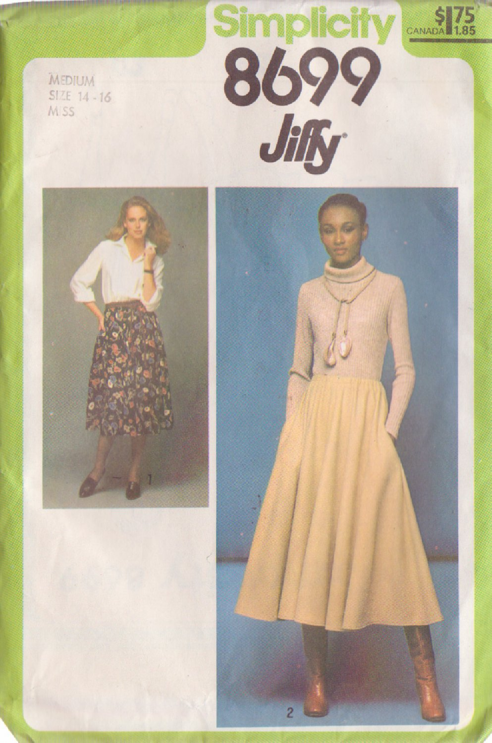 SIMPLICITY PATTERN 8699 SIZE MEDIUM MISSES' JIFFY SKIRT IN 2 LENGTHS 14/16