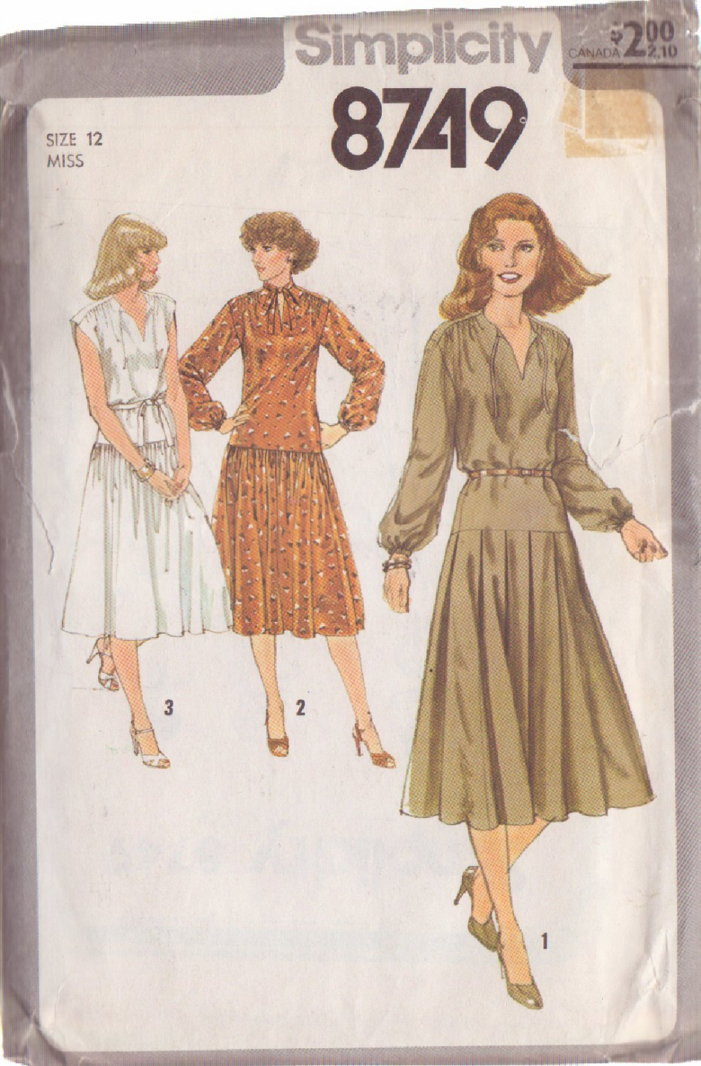 SIMPLICITY PATTERN 8749 SIZE 12  MISSES' PULLOVER DRESS IN 3 VARIATIONS
