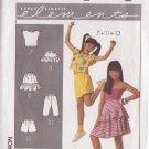 SIMPLICITY PATTERN 9065 GIRLS' TOP,SHORTS,PANTS,SKIRT, PEPLUM 1 SZ FITS 7-14