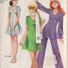 SIMPLICITY VINTAGE 1970 PATTERN 8881 SIZE 10 MINI DRESS, TUNIC, PANTS, SCARF