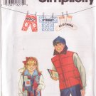 SIMPLICITY PATTERN 9316 SIZES 7-8-10 CHILD'S REVERSIBLE VEST 2 VARIATIONS