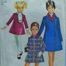 SIMPLICITY VINTAGE 1969 PATTERN 6111 SZ 4 GIRL'S COAT, DRESS, ASCOT, CUFFS