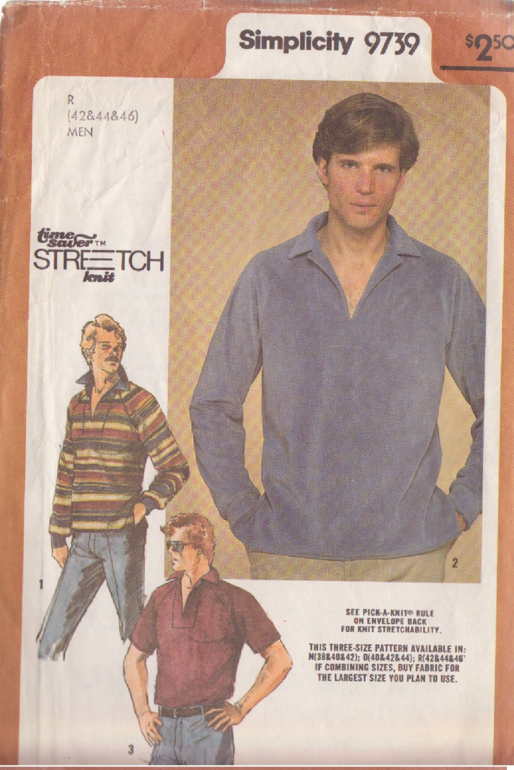 SIMPLICITY VINTAGE 1980 PATTERN 9739 SIZE 42/44/46 MEN'S PULLOVER SHIRT #3
