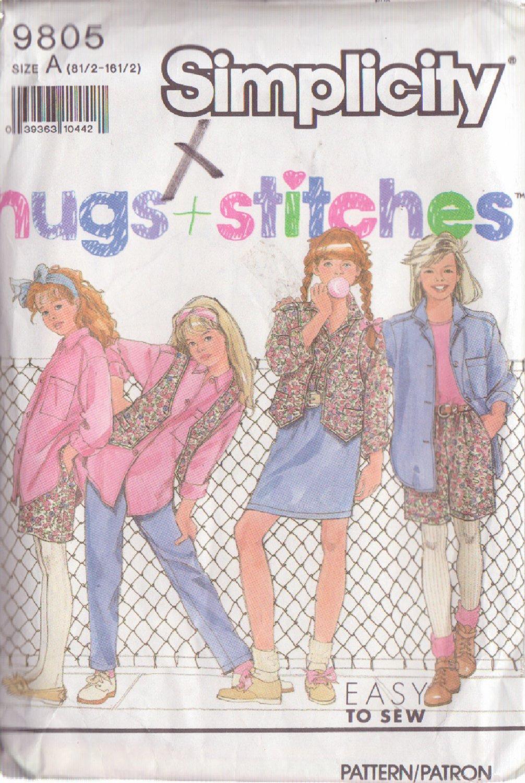 SIMPLICITY PATTERN 9805 SIZE 8 1/2-16 1/2 GIRL'S PANTS, SHORTS, SKIRT, SHIRT, VEST