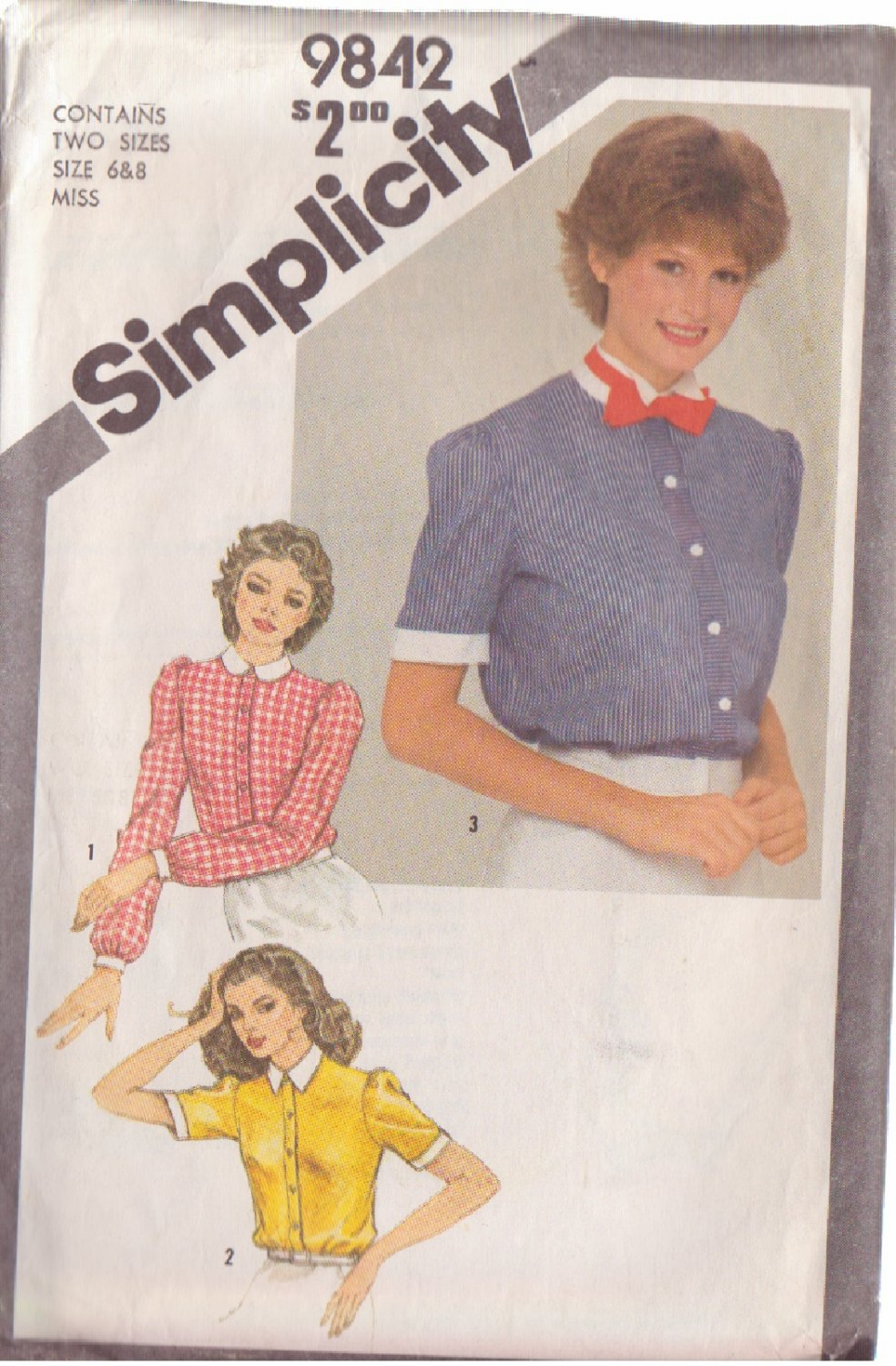 SIMPLICITY 1980 PATTERN 9842 SIZE 6/8 MISSES' SHIRT WITH COLLAR VARIATIONS & BOW TIE