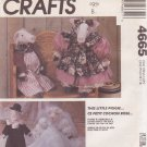 McCall's VINTAGE 1990 PATTERN 4665 STUFFED PIG DOLL & CLOTHES