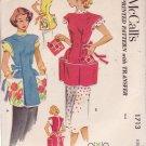 McCALL'S 1952 PATTERN 1713 MISSES' COBBLER APRONS 2 STYLES & POT HOLDER