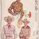 McCALL'S VINTAGE 1954 PATTERN 1925 SIZE SM 14-14.5 MEN'S COWBOY SHIRT