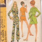 McCALL'S VINTAGE 1970 PATTERN 2260 SIZE 14 MISSES' DRESS TOP PANTS SHORTS